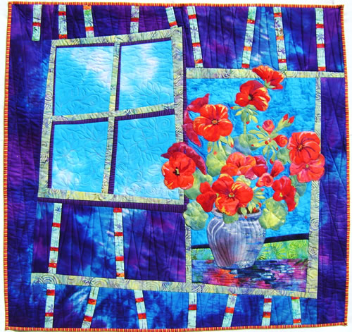 Potted Geranium Quilt by Mary Transom